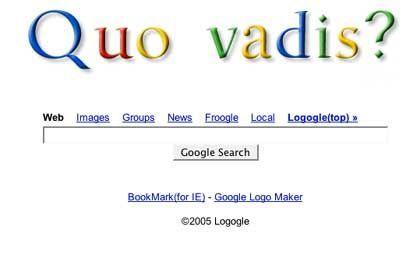 "Screenshot: ""Quo vadis?"" in Google-Typographie auf der Seite Logogle.com"