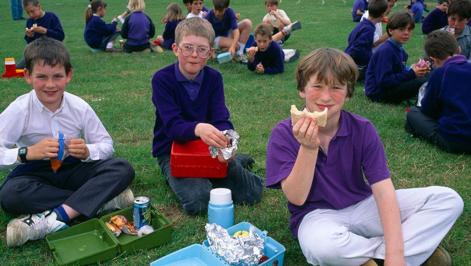 Britische Jungen während ihrer Schulpause: Schlechte Noten für Lebensmittel-Kenntnisse
