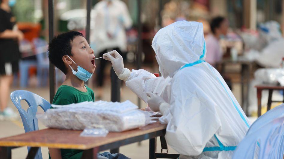 Corona-Teststation in Siming in der Provinz Fujian: Knallharte Null-Covid-Strategie
