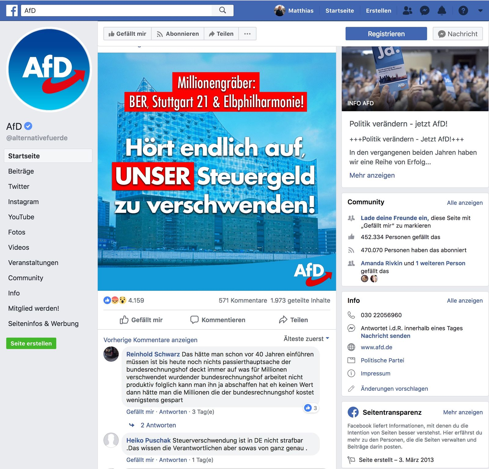 EINMALIGE VERWENDUNG SPIEGEL 18/2019 S. 18 SPIN NUR ALS ZITAT AfD-Facebook-Seite