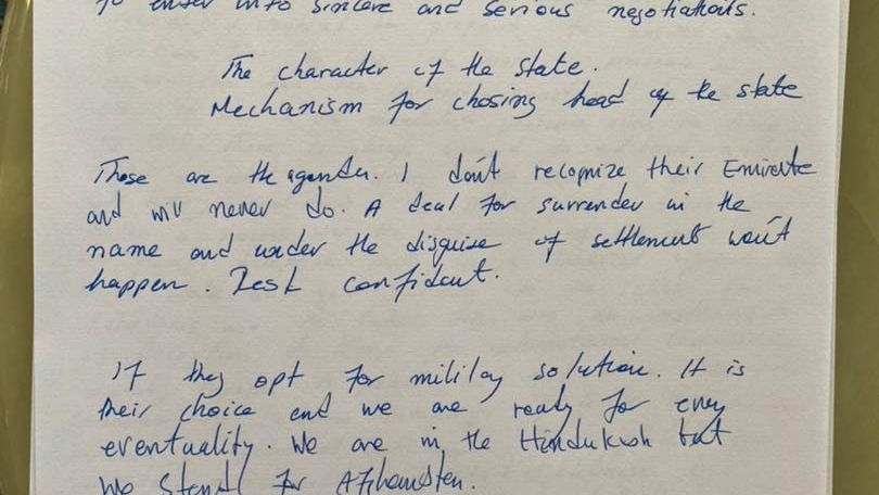 A photo of the letter Saleh sent to SPIEGEL
