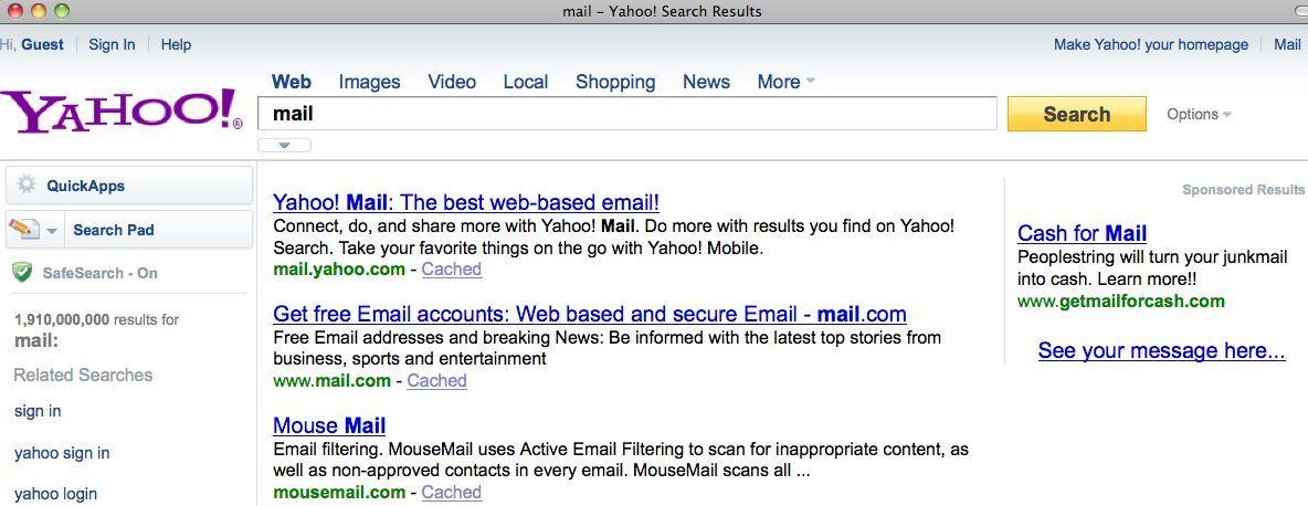 NUR ALS ZITAT Screenshot / Suchmaschinen / Yahoo