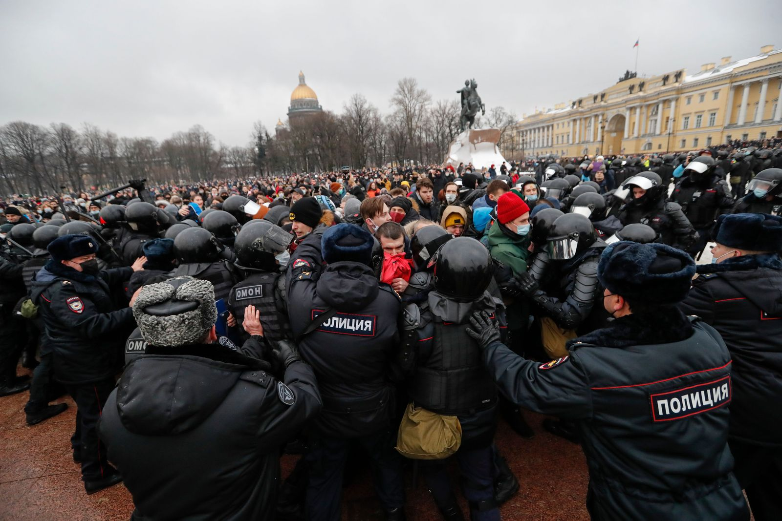 An unauthorized protest in support of Navalny in St. Petersburg, St Petersburg, Russian Federation - 23 Jan 2021