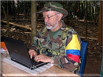 """""""Dear Berlin..."""" This undated handout photo from Interpol shows former FARC commander Raúl Reyes at his computer."""