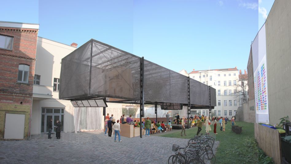 The proposed 'BMW Guggenheim Lab' construction at Pfefferberg.