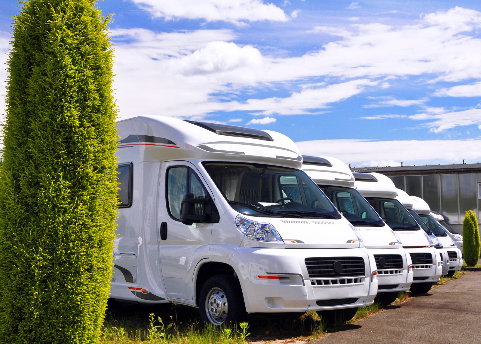 Newly produced motorhomes on a car park in a vehicle factory