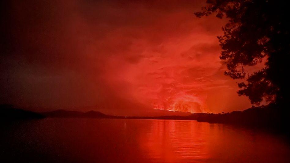 Vulkanausbruch im Kongo: Der Himmel über der Millionenstadt Goma ist glutrot
