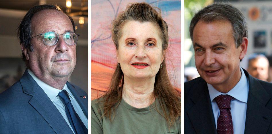 Brief-Unterzeichner Hollande, Jelinek, Zapatero (v.l.)