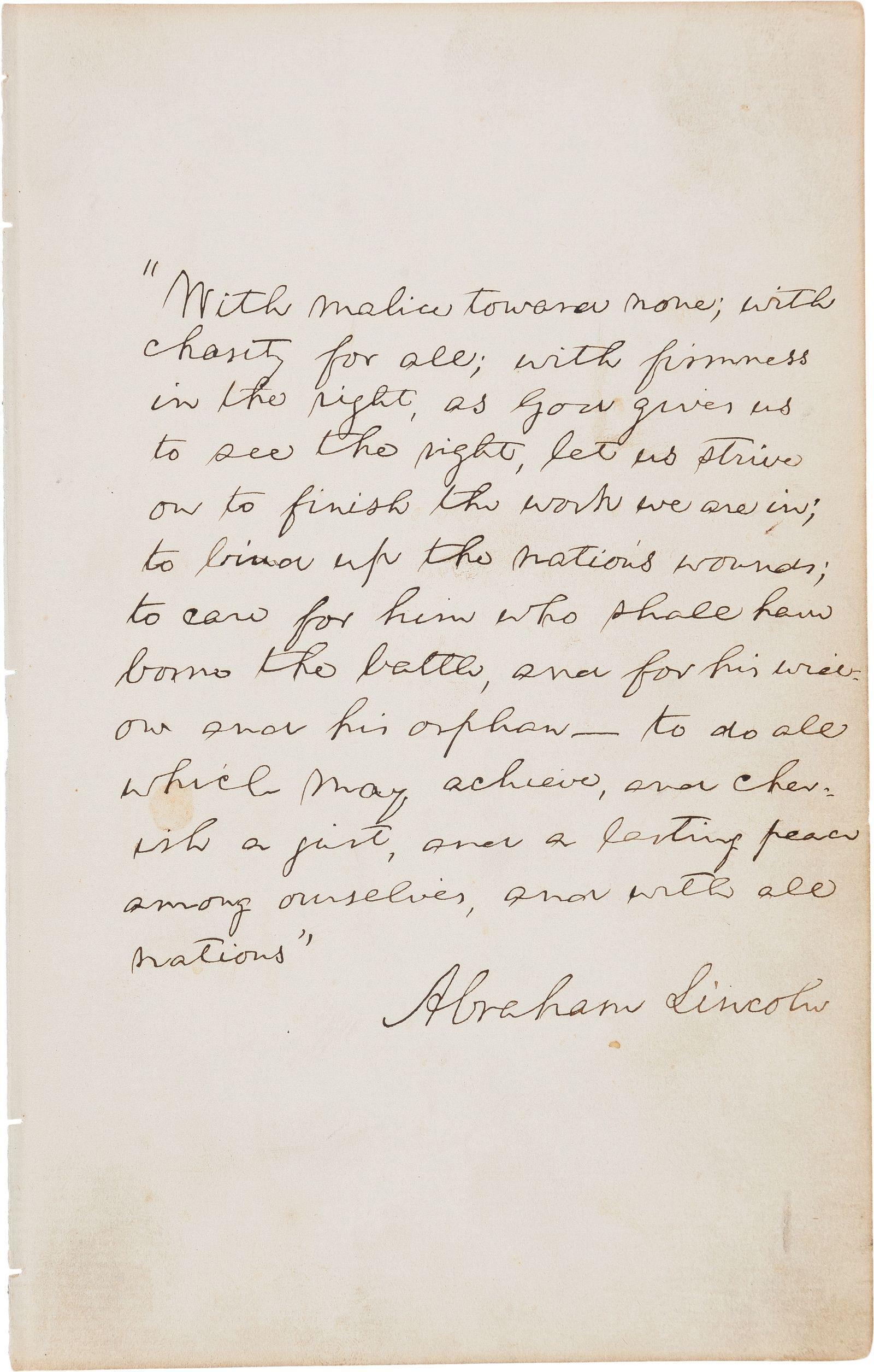 Manuskript von Abraham Lincoln