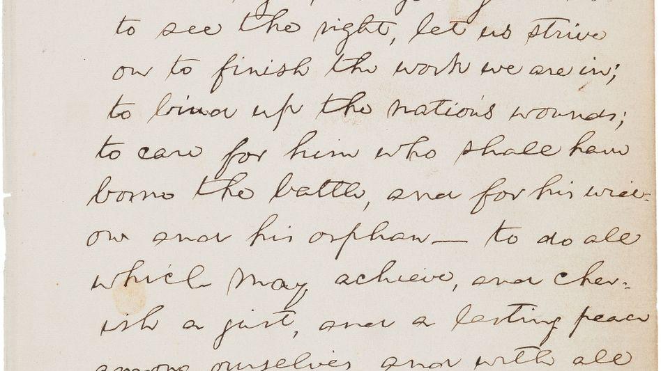 Manuskript des früheren US-Präsidenten Abraham Lincoln: Auf Auktion in New York versteigert