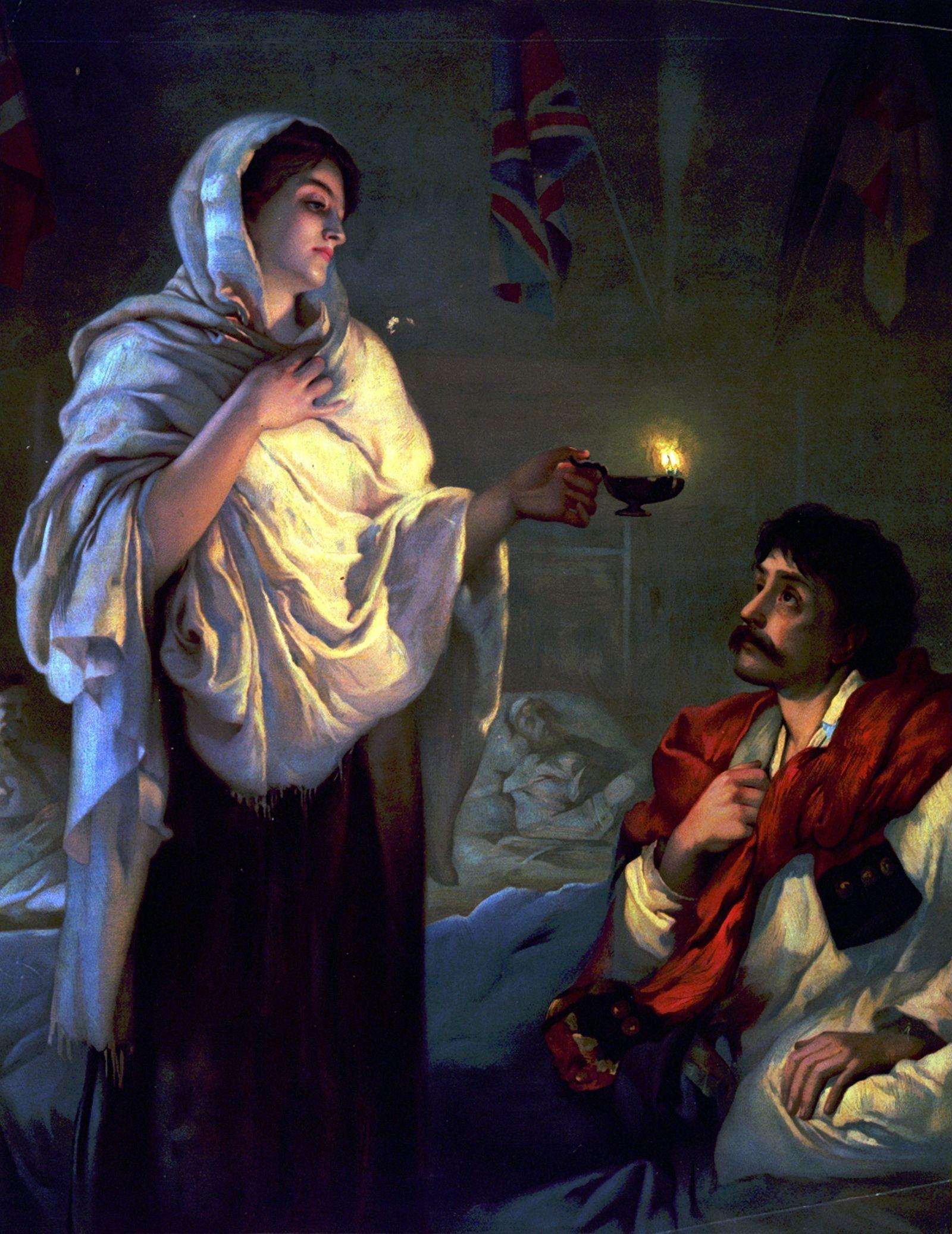 Florence Nightingale im britischen Militaerkrankenhaus von Scutari 1854