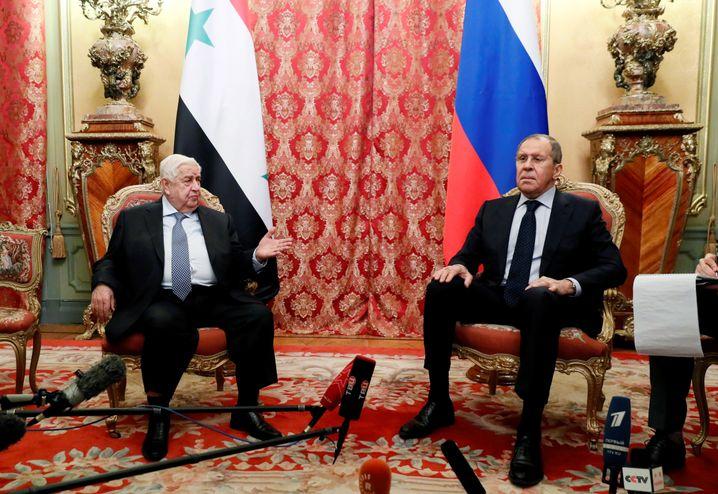 Sergej Lawrow und sein syrischer Amtskollege Walid Muallem