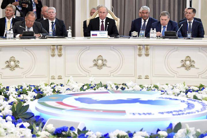 Russlands Präsident Wladimir Putin auf dem Gipfel in Aktau