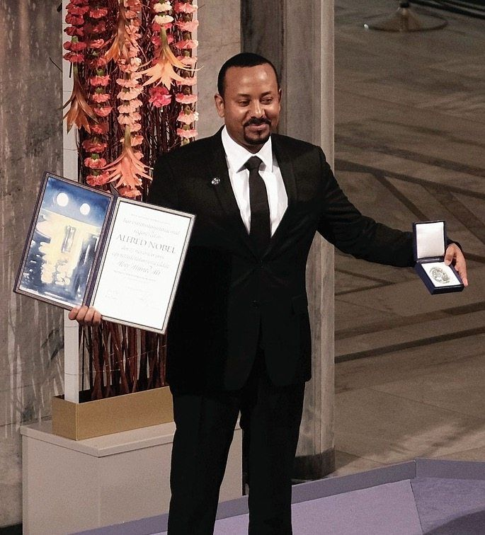 Ethiopian Prime Minister Abiy Ahmed receiving the 2019 Nobel Peace Prize