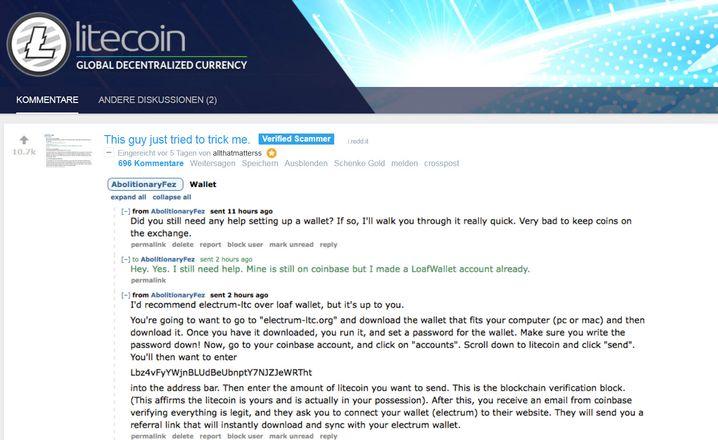 Warnung vor einem Betrüger im Litecoin-Forum auf Reddit: Er wollte, dass das Opfer ihm aus Versehen Litecoin virtuelle Coins überweist