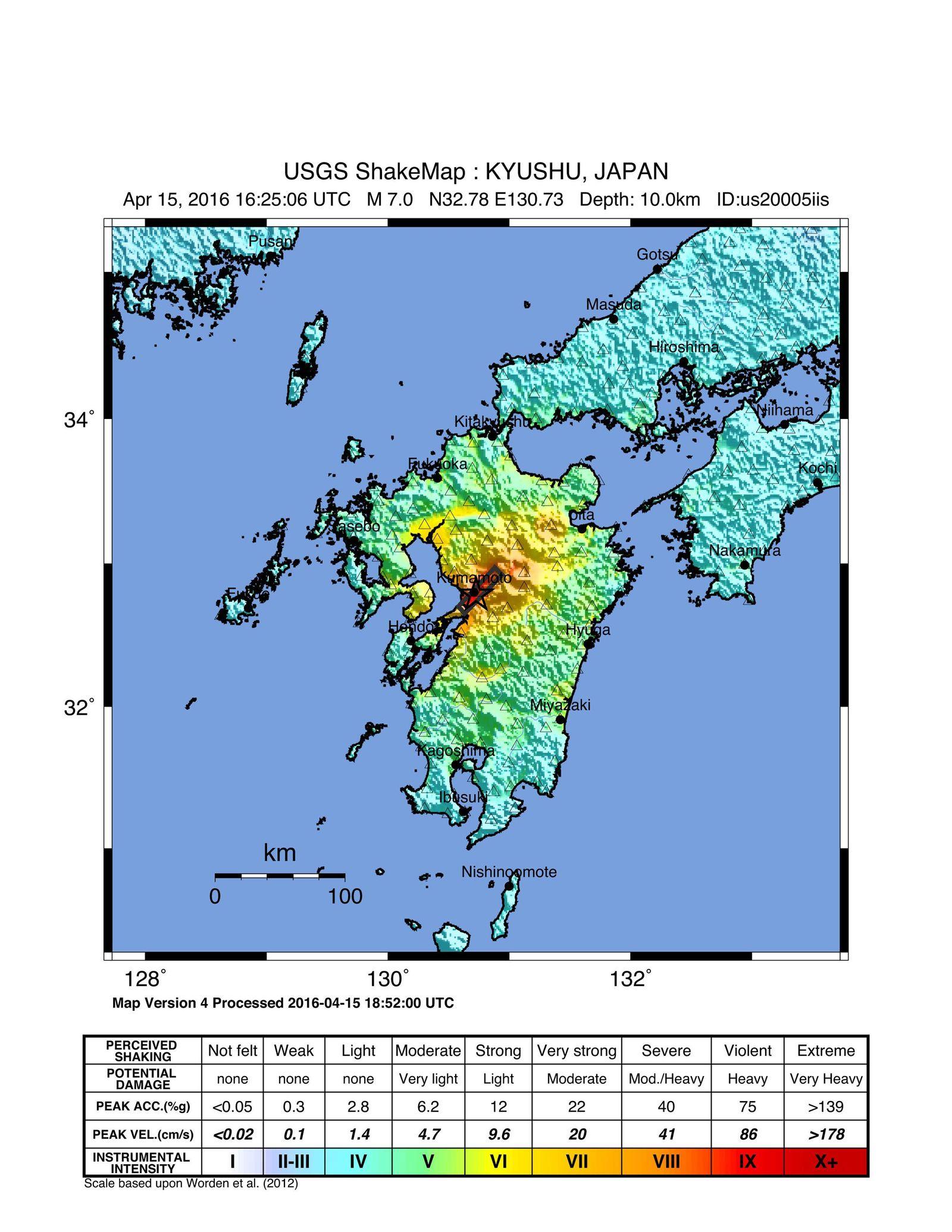 EINMALIGE VERWENDUNG Erdbebenkarte Kumamoto 04/2016