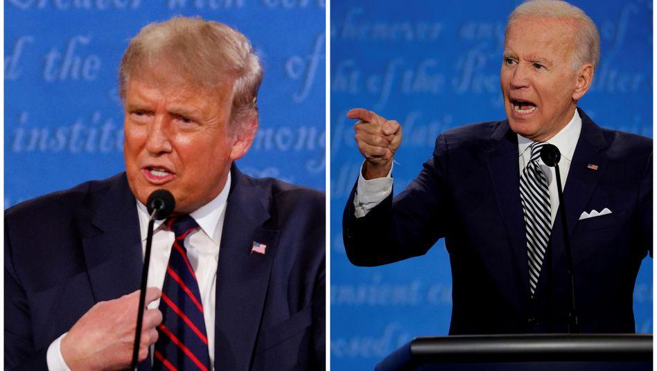 Joe Biden (r.) und Donald Trump (beim TV-Duell am 22. Oktober): Harte Vorwürfe an den Amtsinhaber