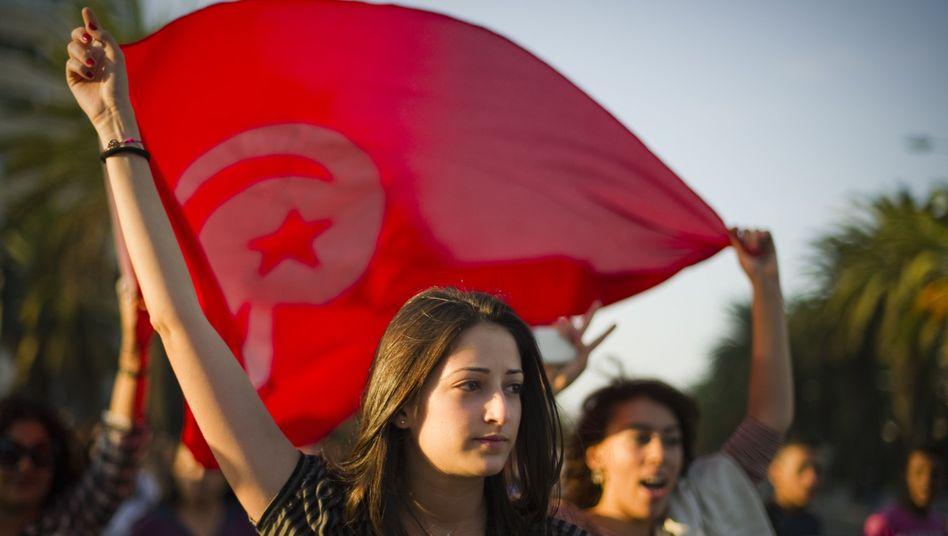 Demonstrantin in Tunis: Liberale fürchten einen dramatischen Wandel in dem Land