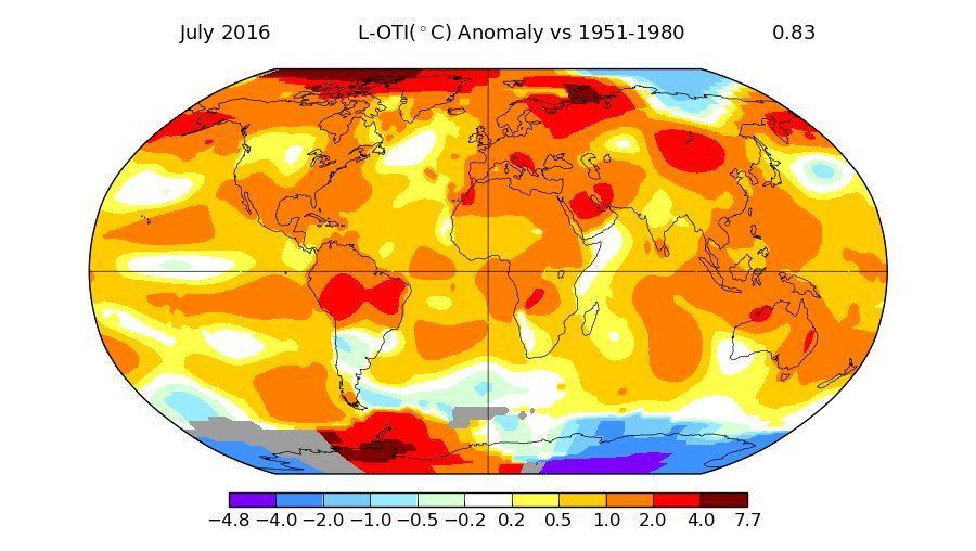 Juli: Abweichung der Temperatur vom Durchschnitt der Jahre 1951 bis 1980 - je roter, desto wärmer (grau = fehlende Daten)
