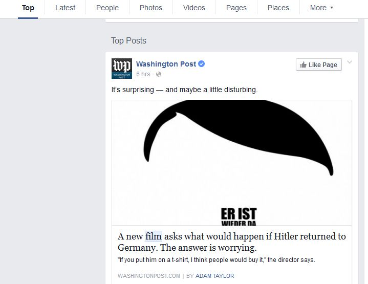 NUR ALS ZITAT Screenshot Facebook Search FYI