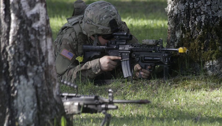 Soldat bei einer Nato-Truppen-Übung Mitte Mai in Estland