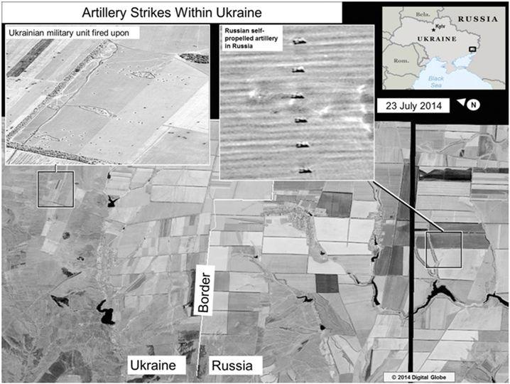 Satellitenbild zu einem Artillerieangriff
