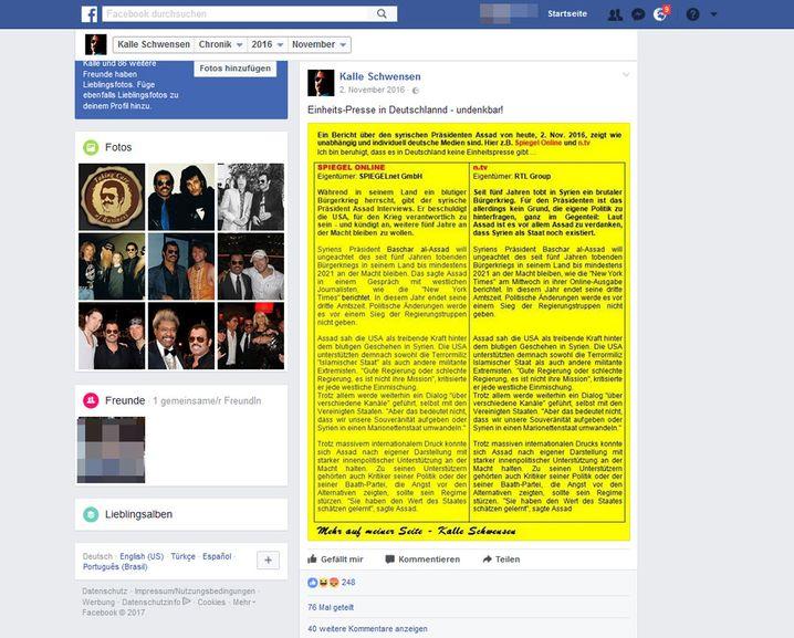 Screenshot von Kalle Schwensens Facebook-Seite