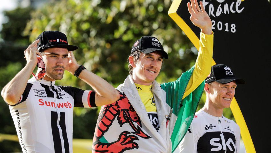 Tom Dumoulin und die Sky-Fahrer Geraint Thomas und Christopher Froome (v.l.)