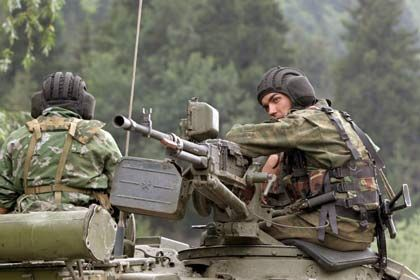 Russian soldiers in South Ossetia, Aug. 10.