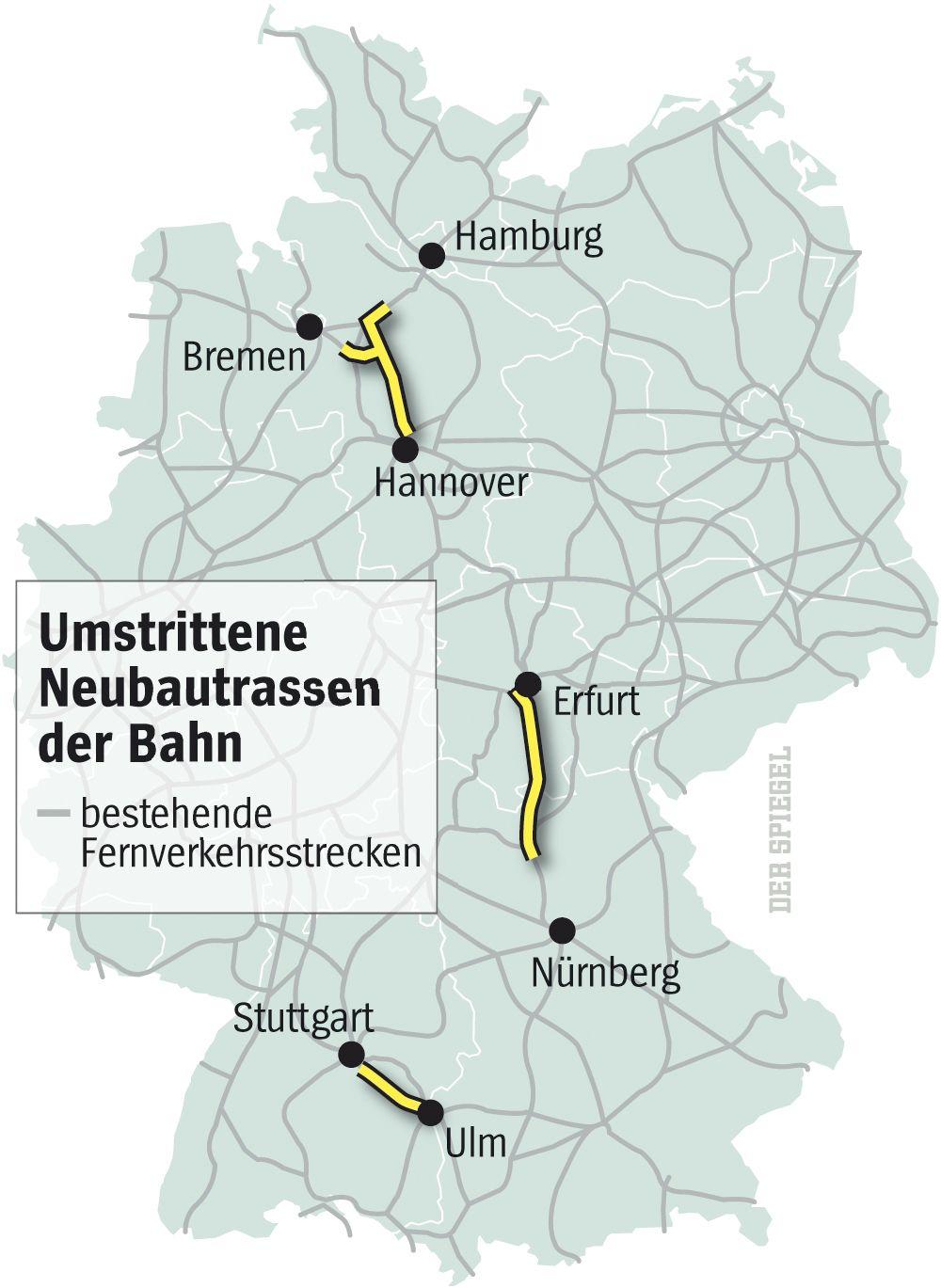 Grafik Bahn-Neubautrassen