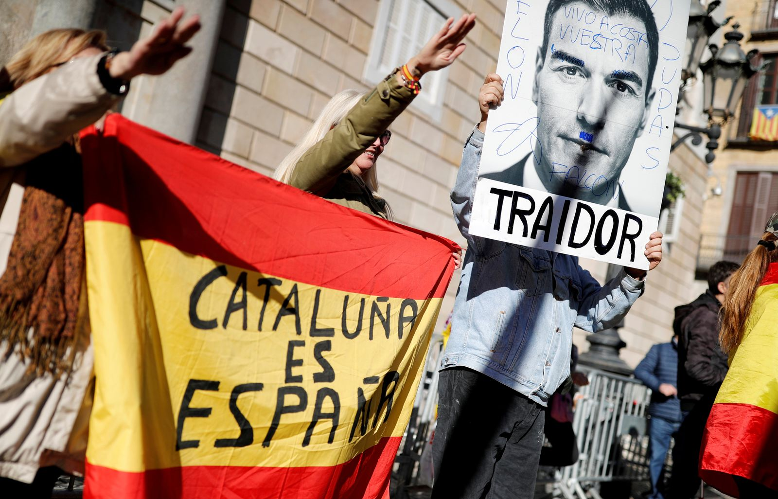 Protest called by far-right party VOX against the new coalition government led by Spain's PM Sanchez in Barcelona
