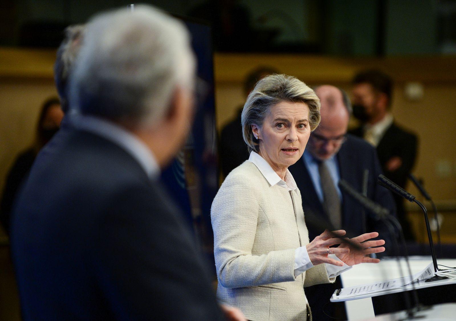 Commission President Ursula von der Leyen speaks during a news conference in Brussels