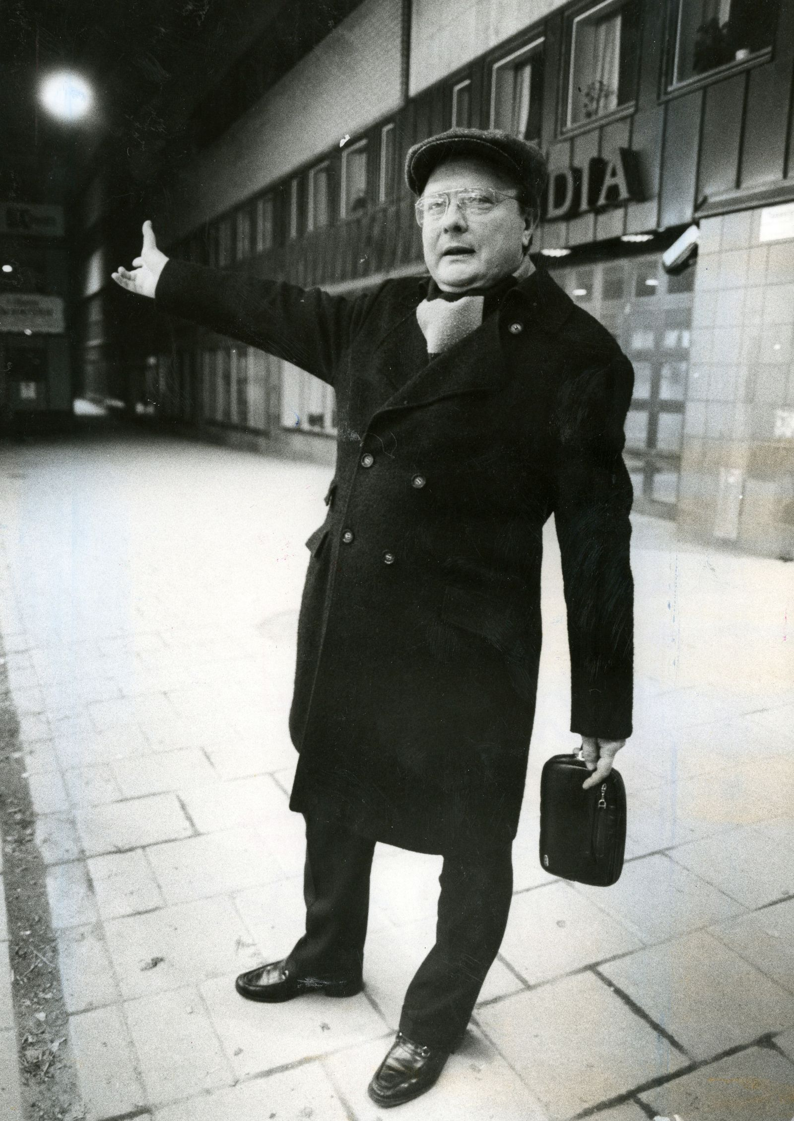Stig Engstrom gestures outside Skandias office in Stockholm