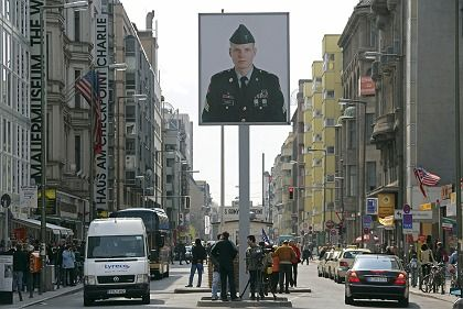 Checkpoint Charlie in Berlin: Several famous politicans have backed a campaign to build a Cold War museum nearby.