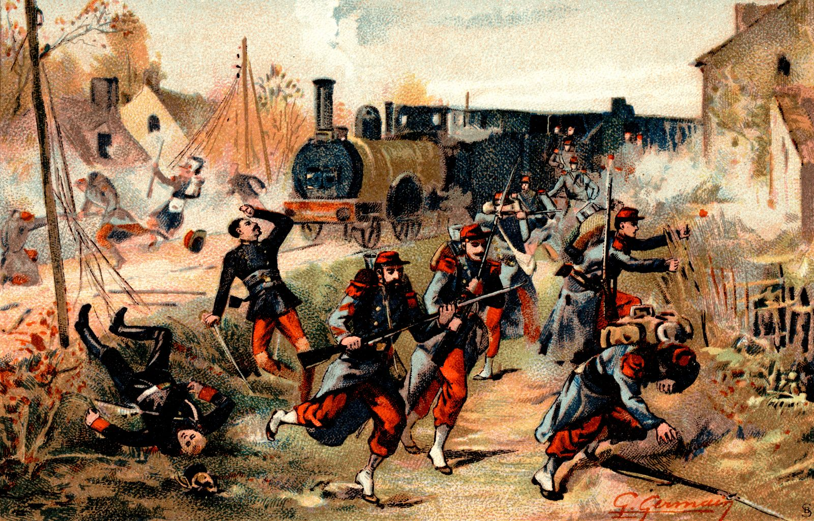 Franco-prussian war. Battle of Peltre during the siege of Metz (Moselle, France). On September 22, 1870.