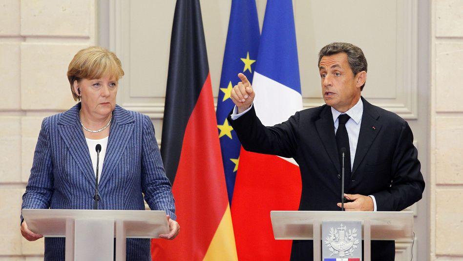 """Kanzlerin Merkel, Präsident Sarkozy: """"Der Euro ist unsere Zukunft"""""""