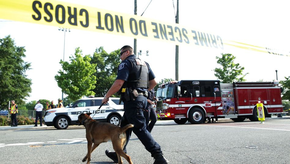 The site of the shooting in Alexandria, Virginia