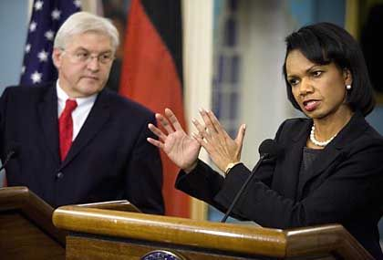 Condoleezza Rice rejects the Iraq Study Group's calls for engaging with Syria and Iran.
