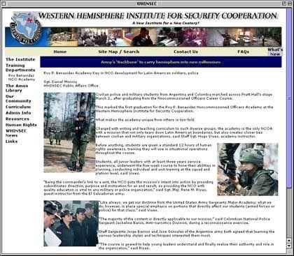 """Präsent, aber nicht transparent: Die Internetseite des """"Western Hemisphere Institute"""""""