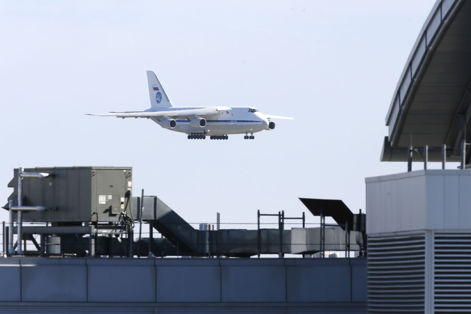 Russian military transport plane carrying medical equipment masks and supplies lands at JFK Airport during outbreak of the coronavirus disease (COVID-19) in New York