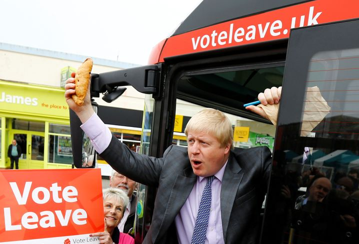 Brexit campaigner Boris Johnson in Cornwall