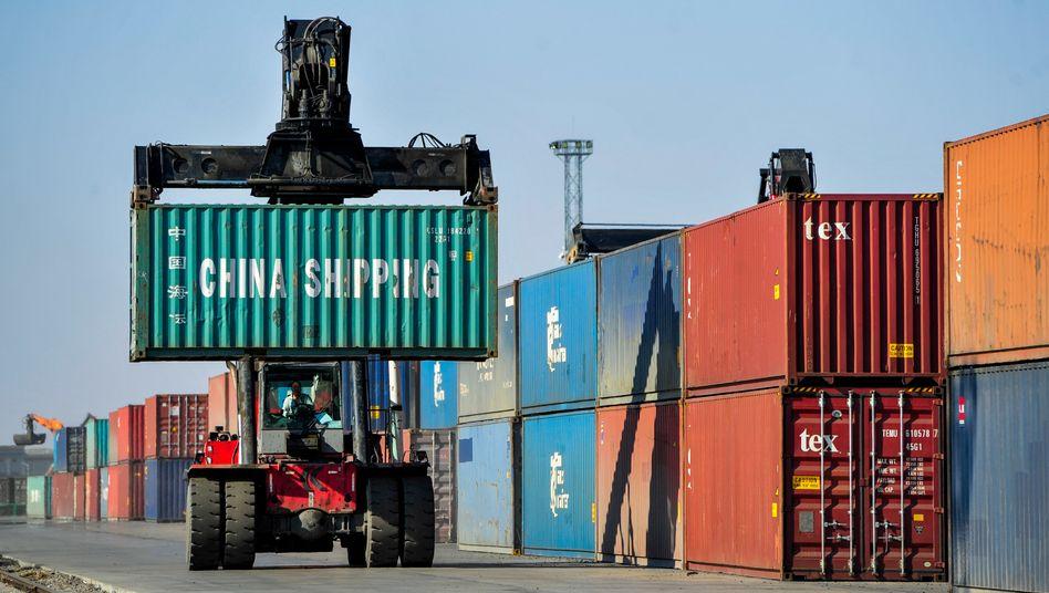 Logistikstation im chinesischen Erenhot (am 11. April): Unerwartetes Exportplus