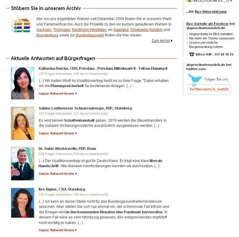 Screenshot Abgeordnetenwatch auf SPIEGEL ONLINE