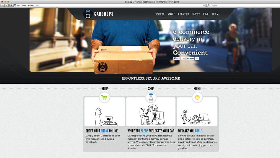 Webseite von Cardops: Lieferung frei Fahrzeug