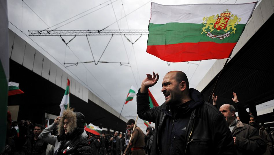 Protesters in Sofia participate in an anti-monopoly demonstration on March 10, 2013.