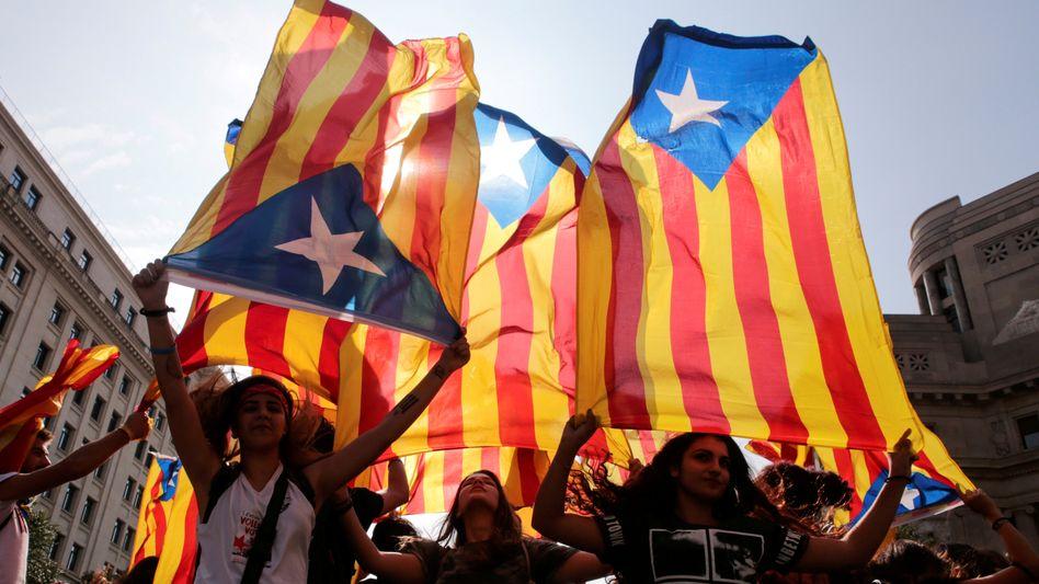 Demonstranten für Kataloniens Unabhängigkeit