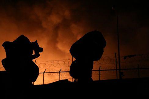 Brennendes Flüchtlingslager Moria auf Lesbos