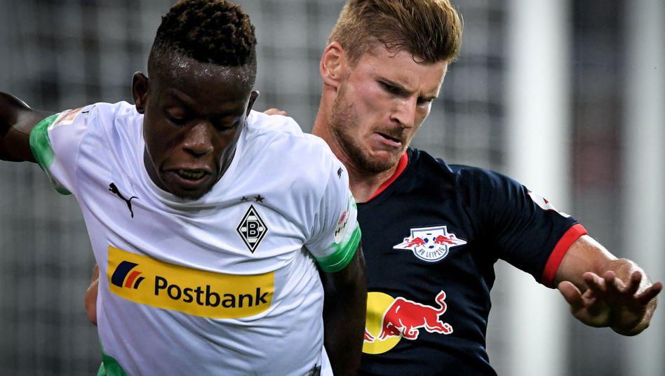 Leipzigs Timo Werner (r): Für die Borussia nicht zu stoppen