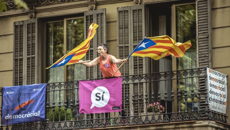 Demonstrantin für das Referendum (in Barcelona)