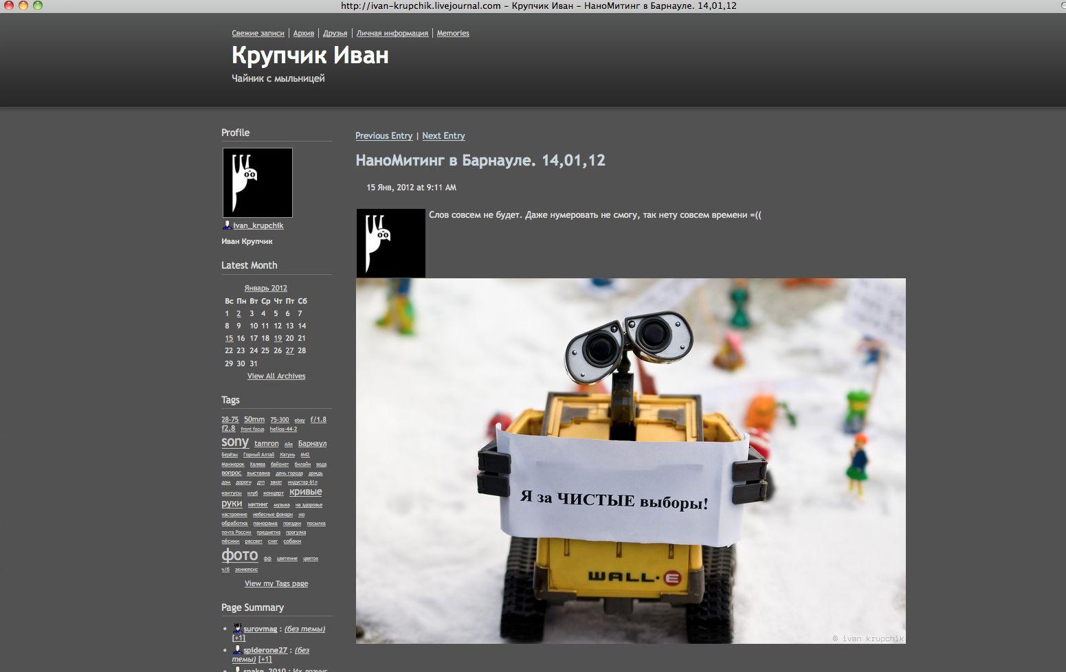 NUR ALS ZITAT Screenshot/ Protestpuppen/ Russland
